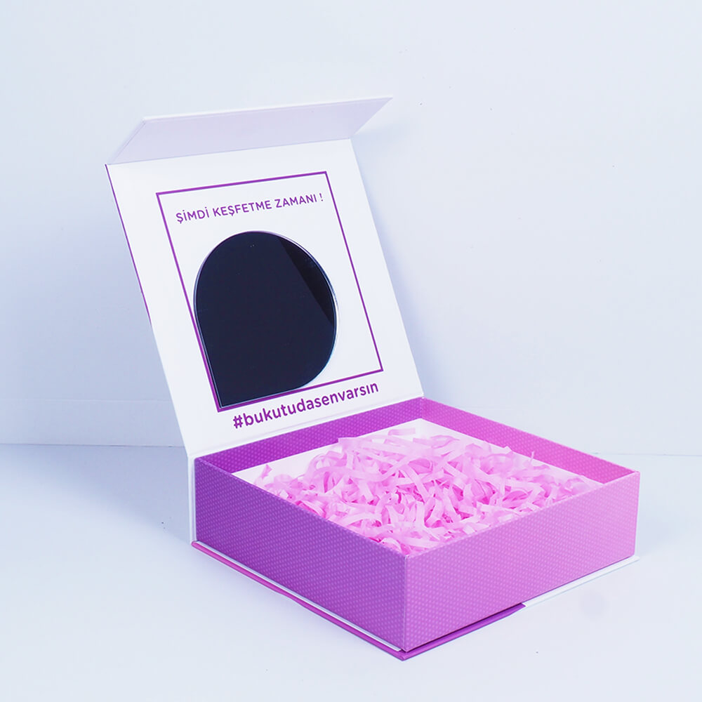 aynalı kirpikli mıknatıslı mukavva kutu