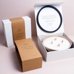 creative candle box design with kraft sleeve